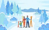 Family Stand Together In Winter Snowy Forest. Mother, Father And Child With Skis. People Ready To Go poster