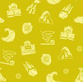 Weather, Natural Disasters, Seamless Pattern, Hatching, Vector, Color, Yellow-green. Images Of Vario poster