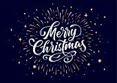 Merry Christmas. Lettering Text For Merry Christmas. Greeting Card, Poster, Banner With Script Text  poster