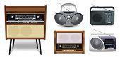 Realistic Set Of Radios. Retro Radio Music Receiver - Rigonda, Boombox, Portable Receivers. Five Ico poster