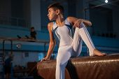 Little Male Gymnast Training In Gym, Flexible And Active. Caucasian Fit Little Boy, Athlete In White poster