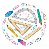 School Supplies Set. Vector Set Of Rulers, Compasses, Pencils, Paper Clips. Hand Drawn Office Statio poster