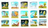 Natural Disaster Set Of Isolated Drawn Style Square Compositions With Wild Landscapes And Forces Of  poster