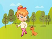 Child Walking In Nature Vector, Kid Spending Time With Pet. Owner Of Canine, Friendship Between Huma poster