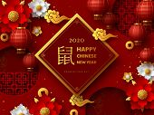 Happy Chinese New Year 2020. 3d Papercut Decorative Chinese Elements On Red Traditional Background.  poster