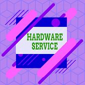 Writing Note Showing Hardware Service. Business Photo Showcasing Act Of Supporting And Maintaining C poster