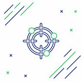 Blue And Green Line Target Sport For Shooting Competition Icon On White Background. Clean Target Wit poster