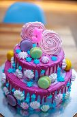 Colourful Fresh Macaroons On Beautiful Cake For Child S Birthday. Cake With Number 5. Blue With Pink poster