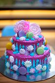 Colourful Fresh Macaroons On Beautiful Cake For Child S Birthday. Candle In Form Of Number 5 On Cake poster