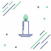 Blue And Green Line Burning Candle In Candlestick Icon On White Background. Old Fashioned Lit Candle poster