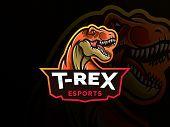 T-rex Head Mascot Sports Logo. T Rex Head Mascot Sports Emblem Illustration With Hand. Tyrannosaur L poster