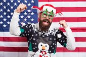 American Guy Joined Cheerful Celebration. American Tradition. Santa Claus On American Flag. Celebrat poster