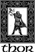 foto of thor  - Woodcut style image of the Viking God Thor in a Celtic border - JPG