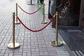 Stanchions With Red Barrier Rope