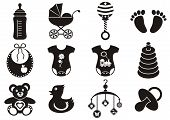image of pacifier  - Set of twelve black and white baby boy and girl icons - JPG