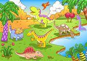 image of prehistoric animal  - Cute dinosaurs in prehistoric scene EPS10 File  - JPG