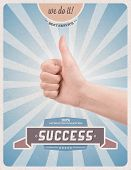 stock photo of confirmation  - Retro or vintage advertising poster with hand giving a thumbs up gesture promising of best service satisfaction guarantee and 100 - JPG