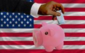 Funding Euro Into Piggy Rich Bank National Flag Of America