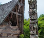 picture of minangkabau  - Traditional batak houses Lake Toba Sumatra Indonesia - JPG