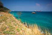 picture of pontoon boat  - Industrial Boat Ship On The Sea Viewpoint - JPG