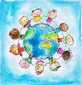 stock photo of fellowship  - Children of different races hugging the planet Earth - JPG