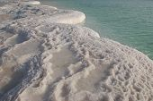 picture of sea salt  - Hydrochloric outgrowths on coast of the Dead Sea - JPG