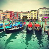 foto of gondola  - Gondolas on Grand Canal - JPG