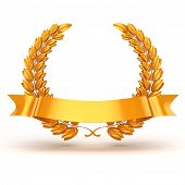 stock photo of trophy  - 3d golden trophy and laurel - JPG