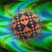 image of plasmatic  - Abstract glowing plasmatic laser background with distorted checkered ball - JPG