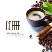 Fresh coffee over white background