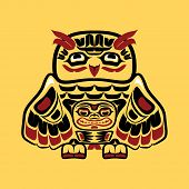 picture of indian totem pole  - Vector illustration of an owl - JPG