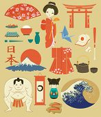 Japan Landmarks, Symbols and Icons - Set of Japan-themed design elements, including sumo wrestler, g