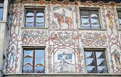 picture of mural  - The facade of the house with murals in the old town Lucerne Switzerland - JPG