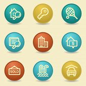 Real estate web icons, retro buttons