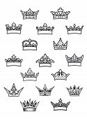 Heraldic King And Queen Crowns Set