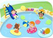 picture of inflatable slide  - Illustration of Kids Having a Pool Party - JPG