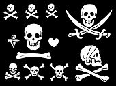 image of skull cross bones  - A set of pirate flags skulls and bones - JPG