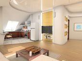 pic of attic  - the design of modern attic living room interior with kitchen  - JPG