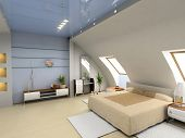 stock photo of penthouse  - modern bedroom interior design  - JPG