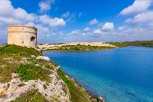 stock photo of mola  - Menorca La Mola watchtower tower Cala Teulera in Mahon at Balearic islands - JPG