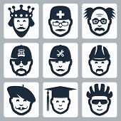 picture of mad scientist  - Vector profession icons set - JPG