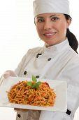 Постер, плакат: Шеф повар с едой