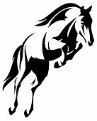 picture of jumping  - beautiful jumping horse black and white vector outline - JPG