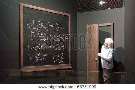 Chalkboard With Math Formulas And