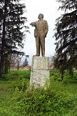 stock photo of lenin  - Old statue of Lenin in a small Bulgarian village - JPG