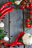 stock photo of black-cherry  - Chili pepper cherry tomato cilantro and garlic  - JPG