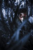 stock photo of revenge  - Scary blue horror scene of an evil man hiding in thick grass at a dark silent forest waiting for a revenge attack - JPG