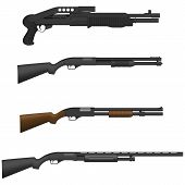 stock photo of shotgun  - Layered vector illustration of isolated different Shotguns - JPG