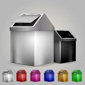 picture of dustbin  - Set of color metallic dustbins with lid - JPG
