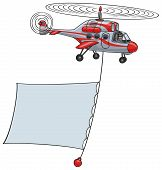 foto of rotor plane  - Cartoon helicopter with a banner flying through the air - JPG